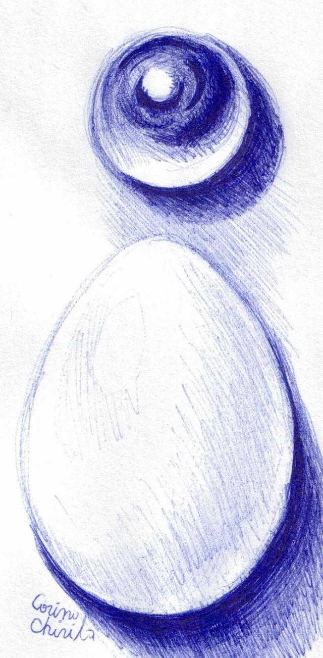 Oul si sfera, desen in pix