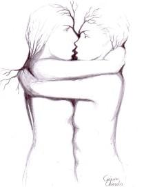 Sarutul, desen in creion inspirat din sculptura lui Constantin Brancusi