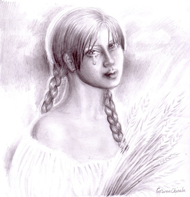 Simina din nuvela Padureanca a lui Ioan Slavici, desen in creion