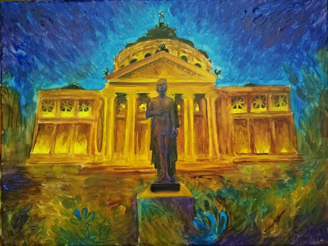 Statuia lui Mihai Eminescu de la Atenerul Roman pictura