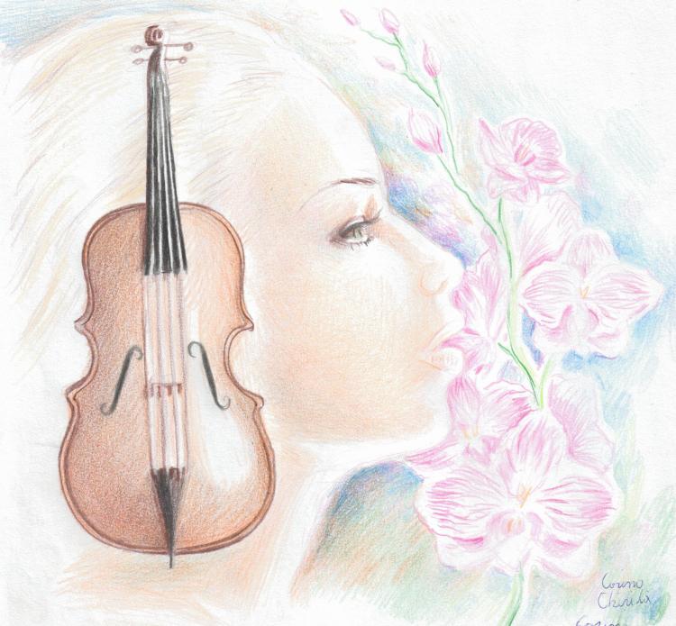 Euridice sau muza muzicii, un desen pe care l-am realizat vineri