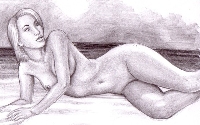 Femeie nud pe malul marii, desen in creion