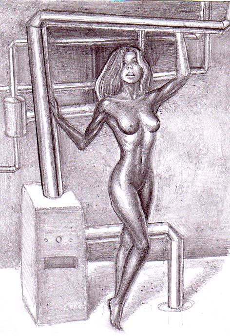 Fata de fier, desen in creion