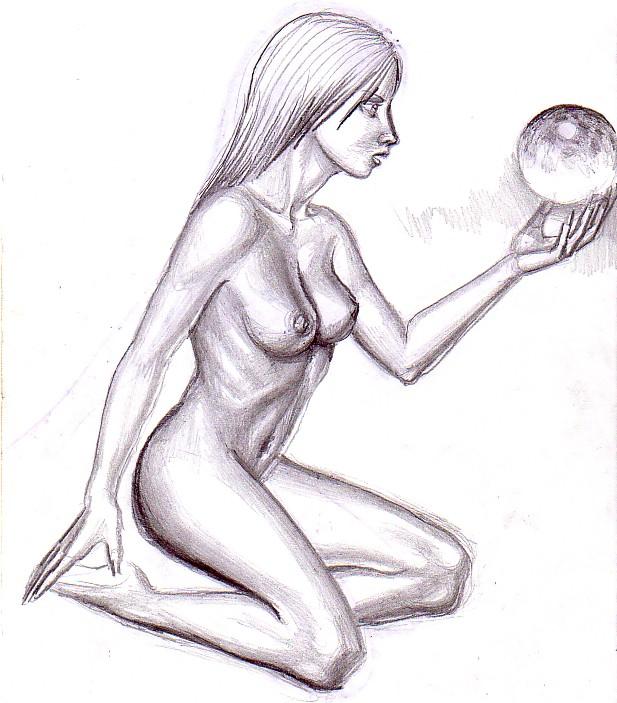 Nud cu sfera, desen in creion