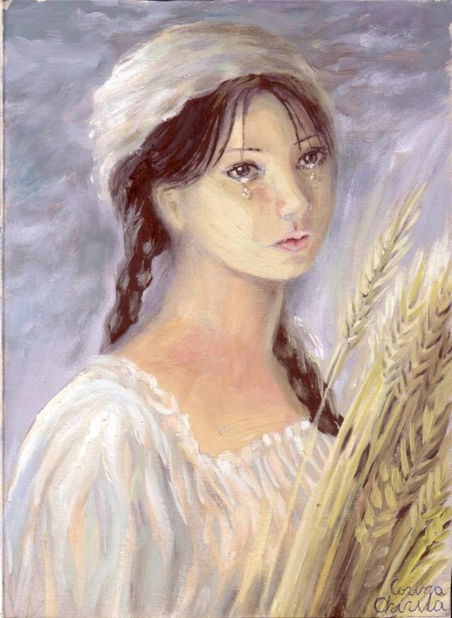 Portretul Siminei din nuvela Padureanca de Ioan Slavici, pictura tempera