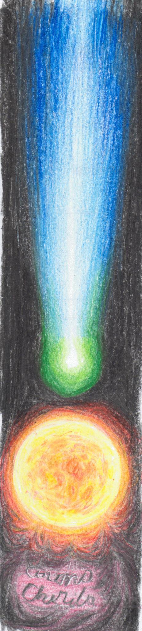Cometa ISON si soarele, desen in creioane colorate