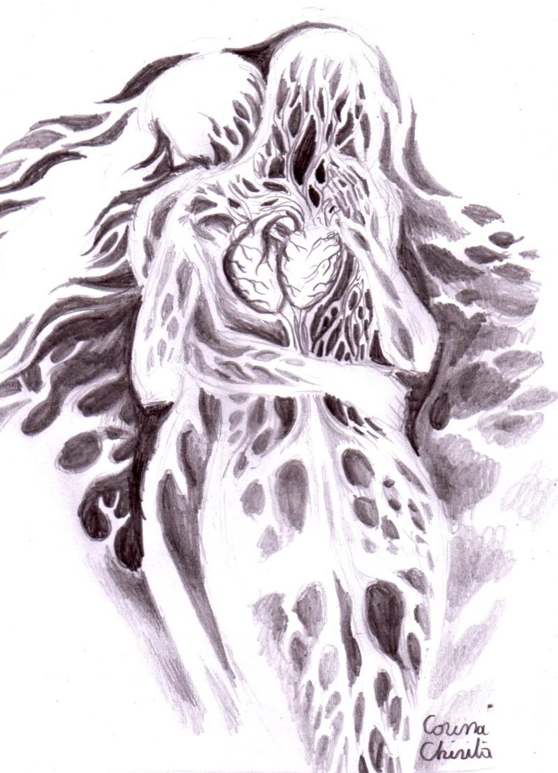 Doua suflete imbratisate, desen in creion