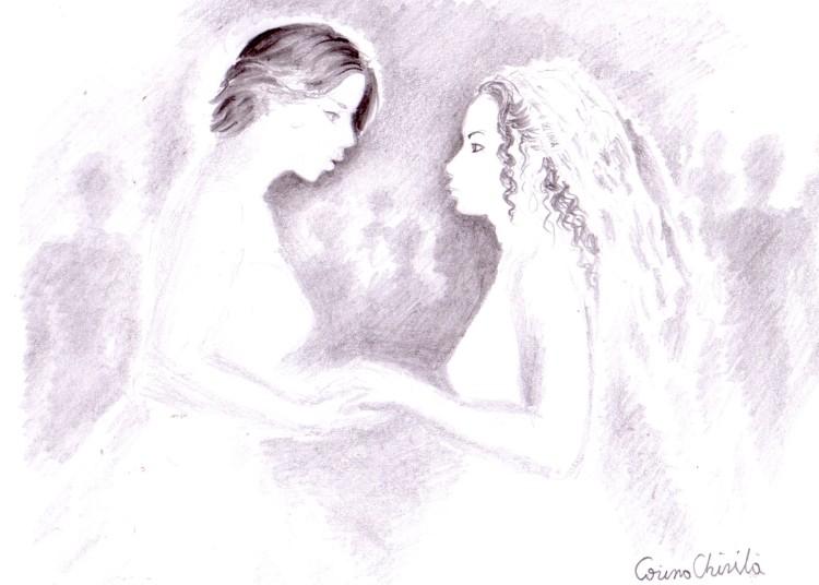 Gay marriage drawing - Desen in creion de nunta casatorie intre doua femei eu cu iubita din vis