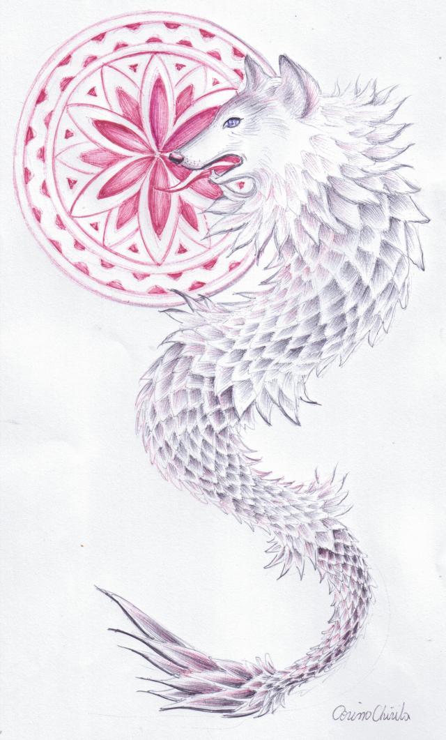 Lupul dacic si floare vietii, desen in pix