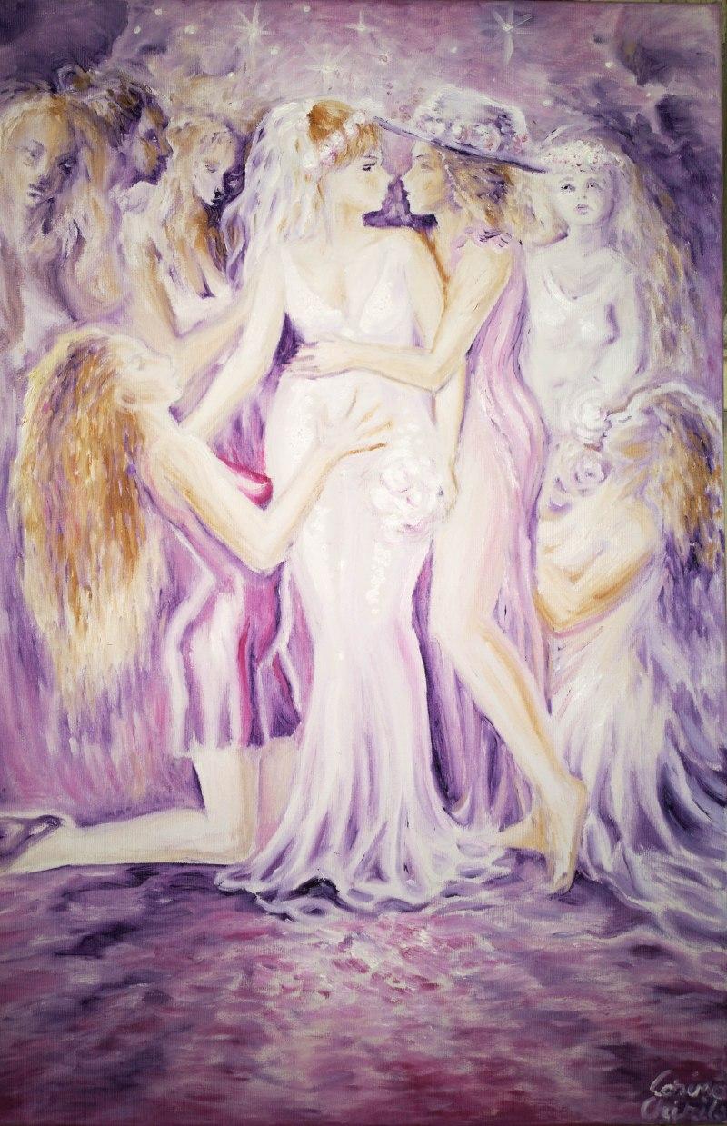 Pictura in ulei pe panza inspirata din poezia Atat de dulce de Mihai Eminescu