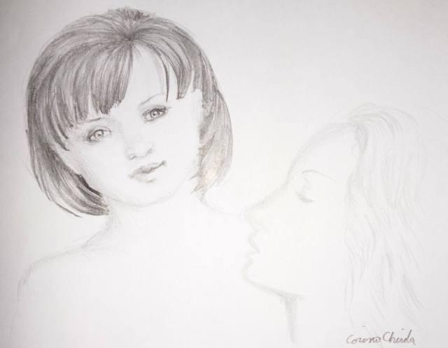 Eu cu femeiea pecare o visez mereu, desen in creion
