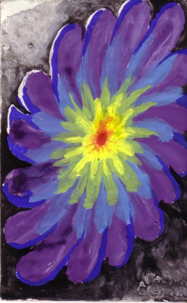 O floare in culorile curcubeului, pictura tempera si acurela