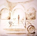 Palatul din povesti si fantoma unei printese pictura facuta cu cafea