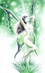 Femeia fluture, desen fantezie de primavara facut cu pixul