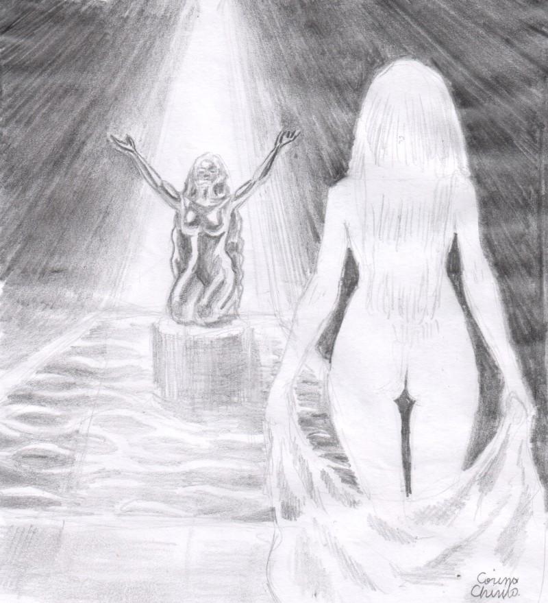 Printesa iubirii si statuia Afroditei din santuar, desen in creion