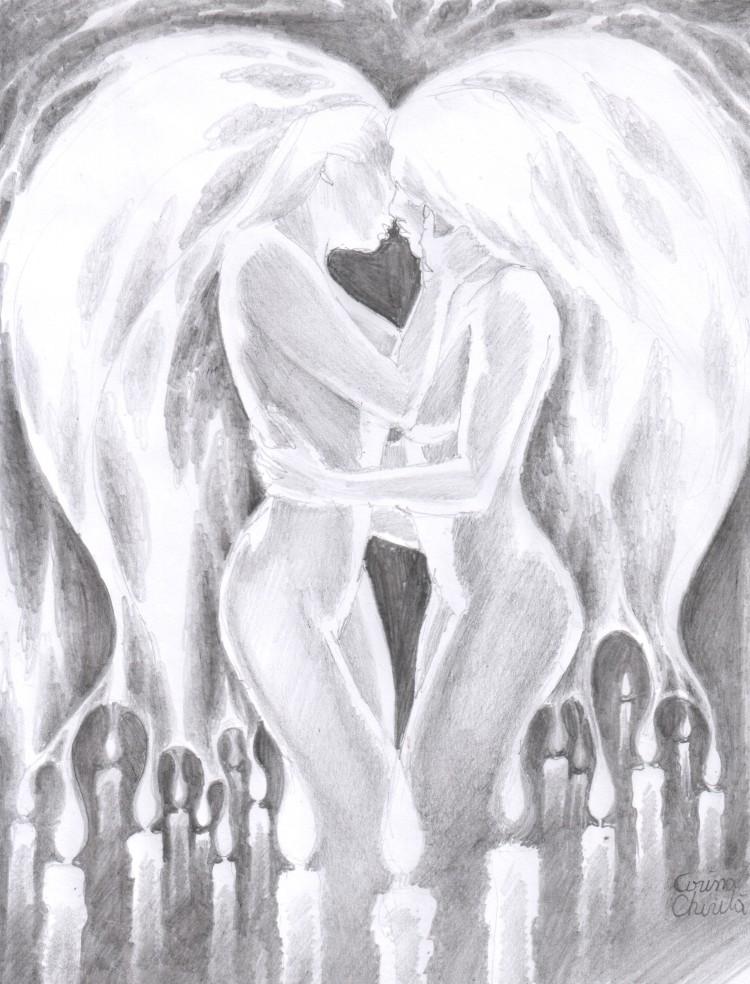 Focul pasiunii, desen in creion