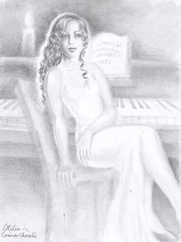 Otilia Marculescu din romanul Enigma Otiliei si pianul la care ii placea sa cante, desen in creion