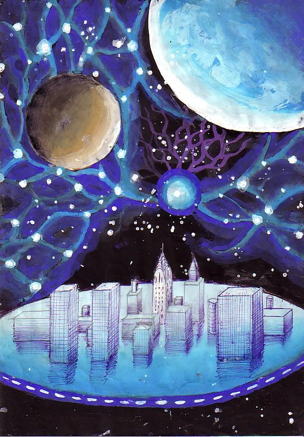 Oras zburator plutind prin univers si energia electrica sub forma de fulger globular, pictura din anul 2001