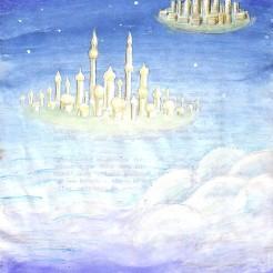 Orase plutitoare printre nori, pictura din 2001