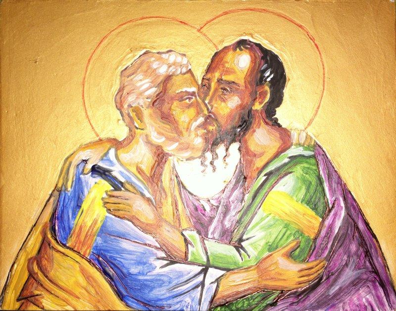 Sfintii apostoli Petru si Pavel, icoana pe lemn