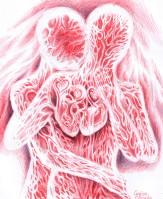 Doua inimi batand impreuna, desen facut cu pixul