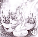 Floarea iubirii desen in creion nud si floare - The flower of love nude woman pencil drawing