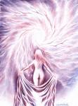 Femeie nud in fata galaxiei, desen in pix