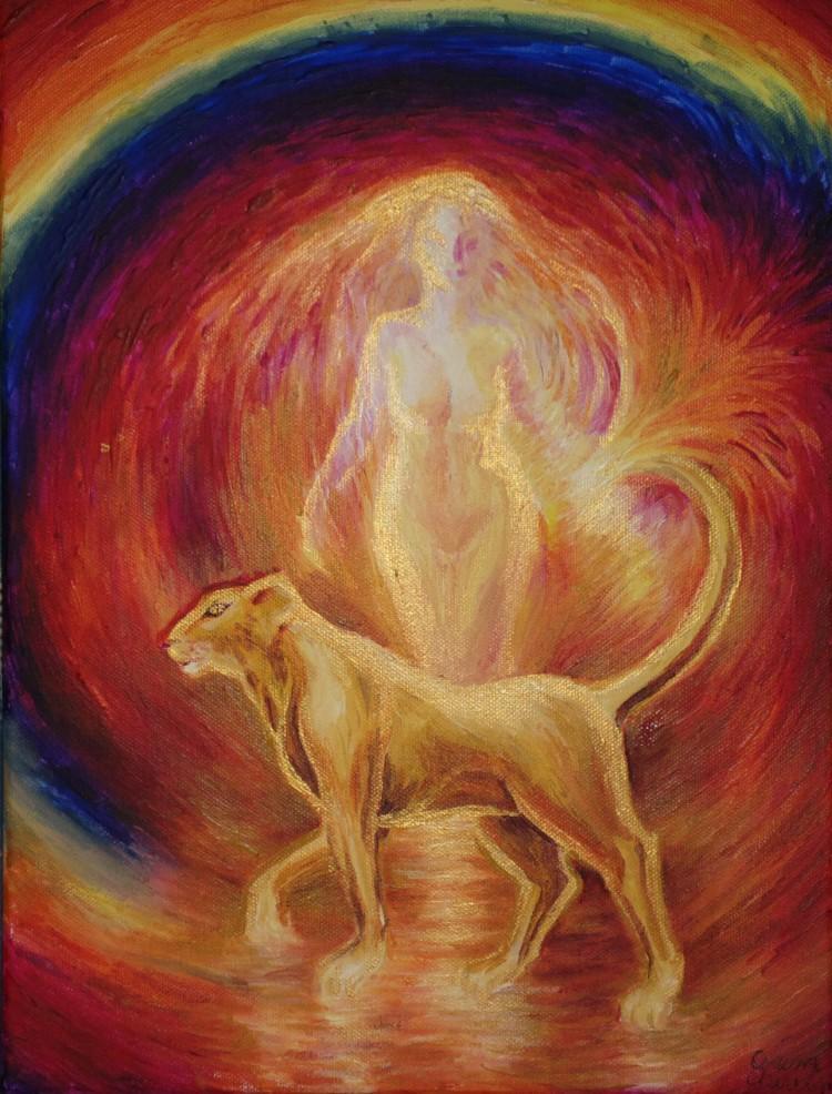 Leoaica tanara iubirea, pictura acrilice pe panza