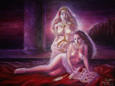 Sappho si Gongyla, pictura ulei pe panza