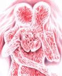 Doua inimi batand impreuna in ritmul iubirii, desen in pix