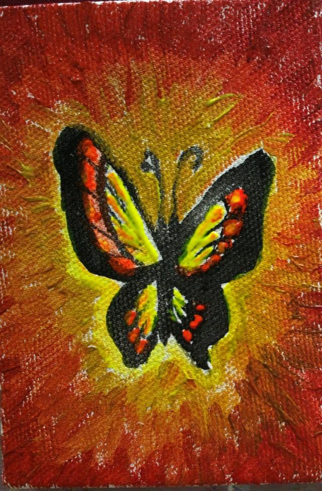 Fluturele portocaliu pictura - Orange butterfly painting
