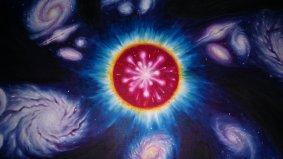 Big bangul si aparitia universului, detaliu dintr-un tablou expus la Galeria T