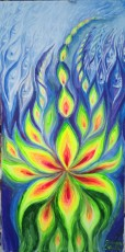 Focul vietii, o pictura fluorescenta pe care am facut-o la targul Expo Bazar Art din centrul vechi