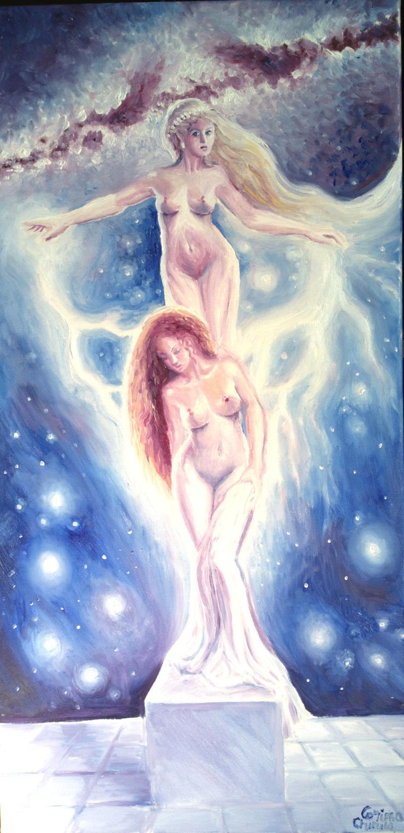 The legend of Pygmalion Aphrodite and Galatea greek mythology oil on canvas painting - Afrodita si Galateea pictura ulei pe panza mic