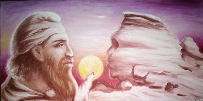 Un dac tarabostes si sfinxul din Bucegi, pictura ulei pe panza