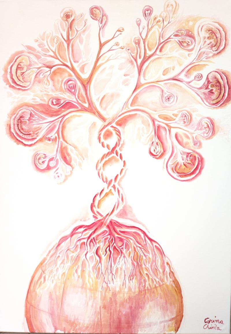 Arborele vietii, pictura acrilice pe panza