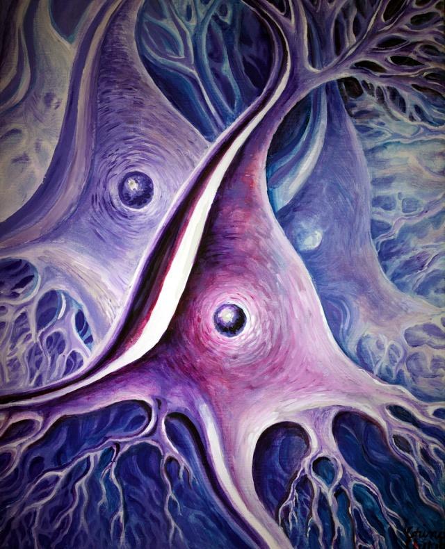 Neuroni piramidali din scoarta cerebrala, pictura acrilice pe panza