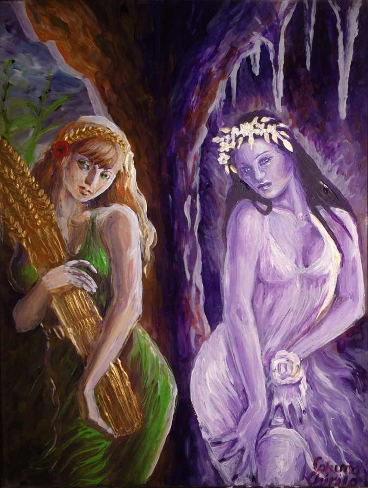 Demetra si Kore pictura pe sticla