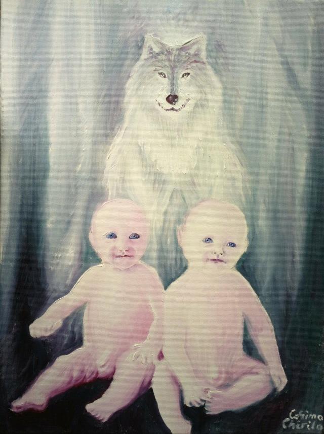 Romulus, Remus si lupaica, pictura ulei pe panza