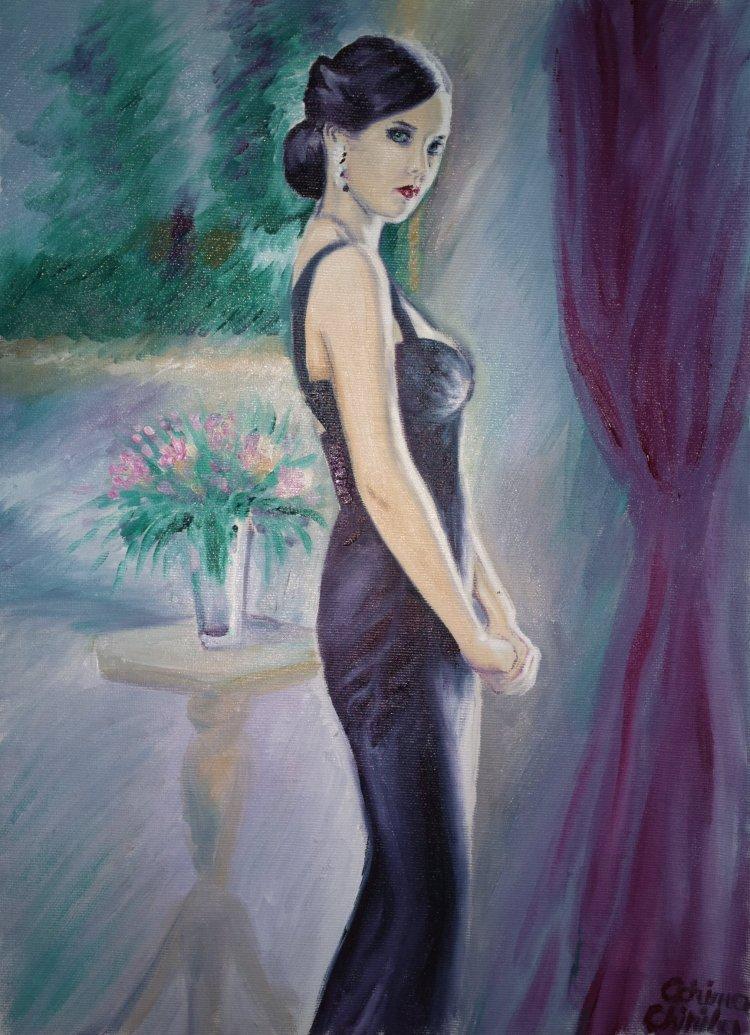 Eva Green sau Vesper Lynd din filmul Casino Royale, pictura ulei pe panza