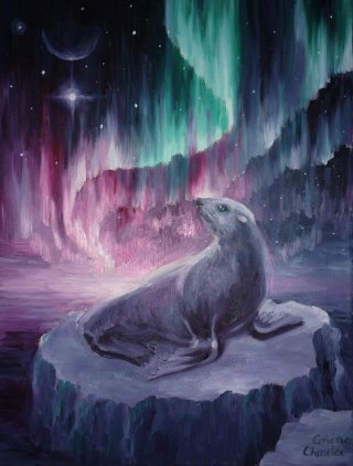O foca singura si trista in lunga noapte polara privind aurora boreala si steaua nordului, pictura ulei pe panza