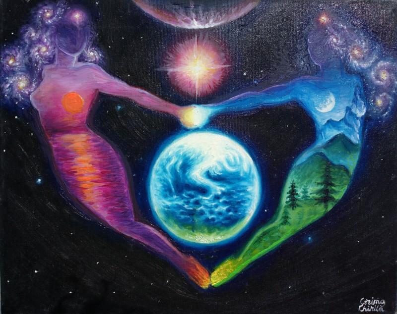 Comeplementaritate sau iubire cosmica dintre doua suflete pereche pictura ulei pe panza - soulmates or cosmic love oil on canvas painting