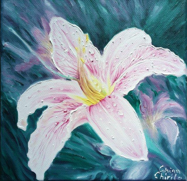Floare de crin, pictura ulei pe panza