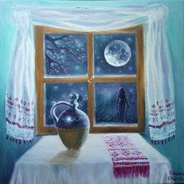 Pe aceeasi ulicioara, pictura ulei pe panza inspirata din poezia lui Mihai Eminescu