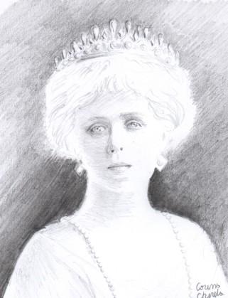 Portretul reginei Maria, desen in creion