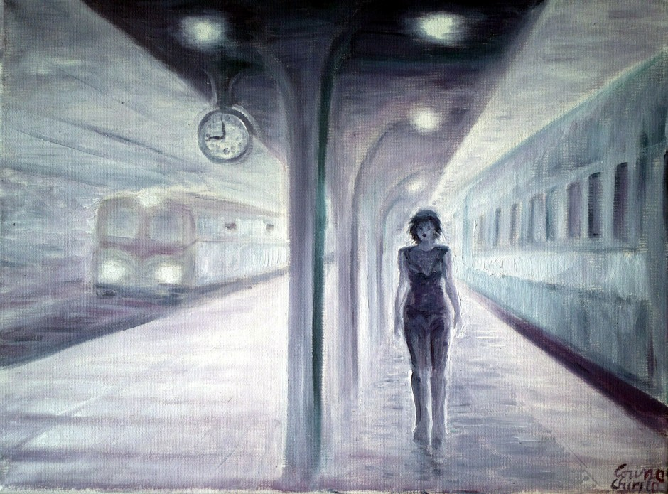 Gara intalnirilor din visele mele, pictura ulei pe panza