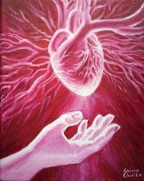 A darui o inima, pictura ulei pe panza