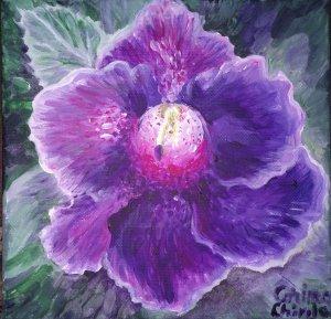 Floare de gloxinia, pictura acrilice pe panza