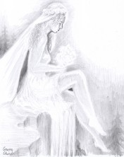 Legenda Cascadei Valul Miresei, desen in creion
