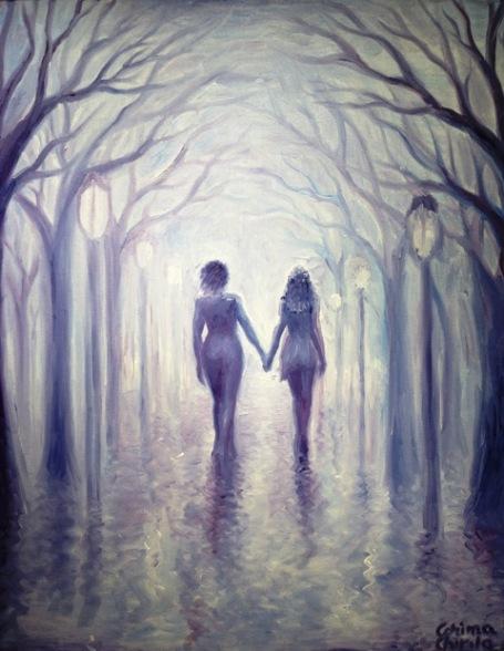 Un vis despre o plimbare romantica dupa ploaie, pictura ulei pe panza
